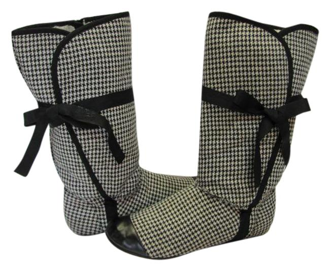 Item - Black White M Houndstooth Design Very Good Condition Boots/Booties Size US 8.5 Regular (M, B)