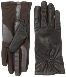Isotoner Brown Leather Stretch Gathered smarTouch Lined Womens Gloves XS