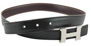 Hermès #9115 24mm H silver Size 70 reversible belt black on brown