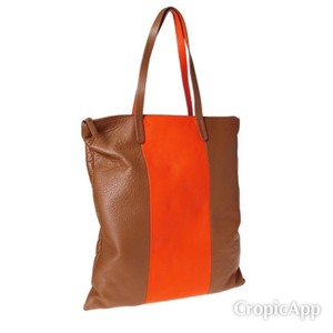 Gap Leather Stripe Tote in Brown (orange stripe)