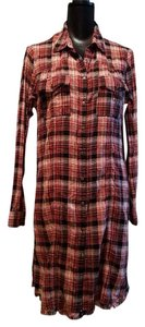 356030d7e213d0 Free People short dress Plaid 8 Days A Week Shirt Dress Leggings Frayed Hem  Top on