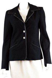Fendi Leather Cotton Jacket Black Blazer