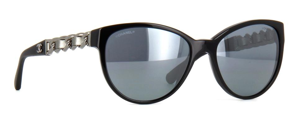 4f76ff4290 Chanel Black Silver 5215 Q Cc Logo Chain Link Leather Quilted Cat Eye  Butterfly Mirror Sunglasses