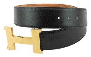 Hermès #9113 42 Mm Gold Polished Constance H Belt Leather Black on Natural