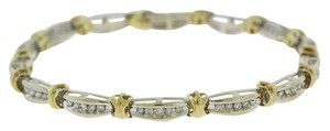 Other White Yellow Gold Brilliant Diamond Tennis Bracelet - 1.3 cttw