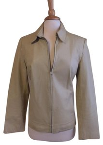 Anne Klein Leather Soft Classic Golden Ivory Leather Jacket