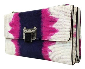 Rebecca Minkoff Coco Leather Pink Blue White Multicolor Clutch