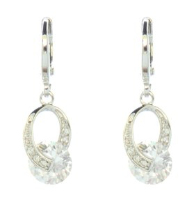 Contemporary Rhodium Silver Cubic Zirconia Drop Earrings