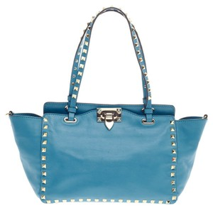 Valentino Leather Tote in Sky blue