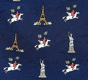 Hermès Hermes Flagship Statue of Liberty Eiffel Tower Tie 7913 MA Rare