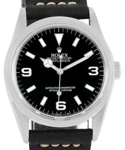 Rolex Rolex Explorer I Mens Steel Black Dial Leather Strap Watch 14270