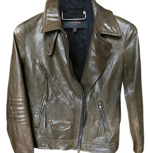 Coach Leather Moto Motorcycle Biker Green Leather Jacket