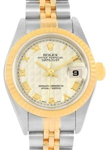 Rolex Rolex Datejust Steel 18k Yellow Gold Pyramid Dial Ladies Watch 79173