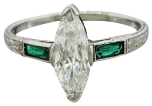 1920s Antique Art Deco Platinum Diamond Emerald Engagement Ring