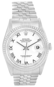Rolex Rolex Datejust Steel White Gold White Roman Dial Automatic Watch 16234