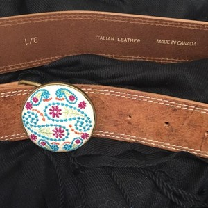 Cobalt Italian Leather Embroidered Buckle Large