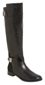 Rachel Roy Leather Equestrian Knee High Black Boots
