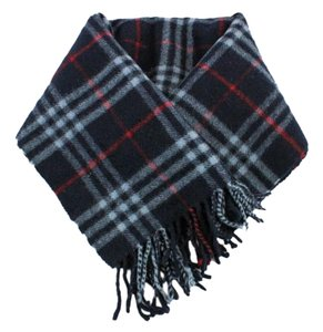 Burberry #9122 Burberry Navy Check pattern 100% lambswool scarf