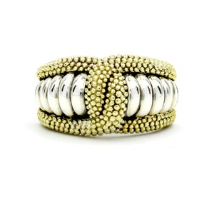 Lagos Lagos Caviar Statement Ring in Sterling Silver and Yellow Gold, Size 7
