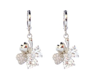 Other Heart Shaped Floral Rhodium Silver Plated CZ Drop Earrings