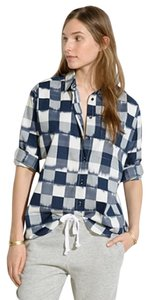 Madewell Ikat Check Blue White Button Down Shirt blue ikat
