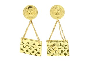 Chanel Vintage Gold Dangle Classic Flap Bag Clip On Earrings