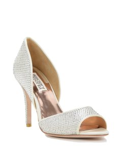 Badgley Mischka Satin Rhinestone Heels Silver Formal