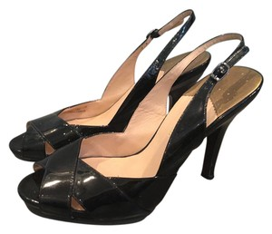 Cole Haan Patent Peep Toe Slingback Pumps Black Sandals