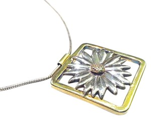 Tiffany & Co. Tiffany & Co Vintage Sterling & 18K Gold Daisy Flower Necklace 16