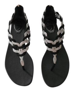 Rene Caovilla Swarovski Crystals Woven Design Elegant Fabulous Design Made In Italy Black/Silver Sandals