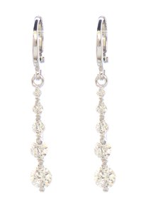 Other Silver Rhodium Studded Cubic Zirconia Bar Dangle Earrings