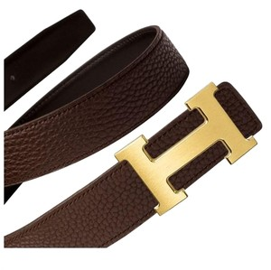 Herms NEW Hermes H belt black & brown 90 32MM