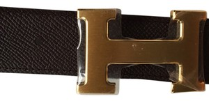 Hermès NEW Hermes H belt black & brown 90 32MM