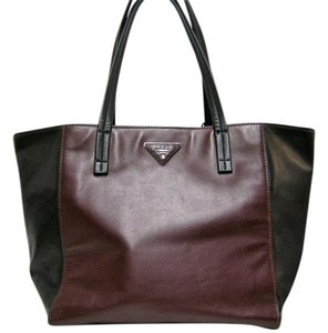 Prada Leather Colorblock Two-tone Tote in Black & Red