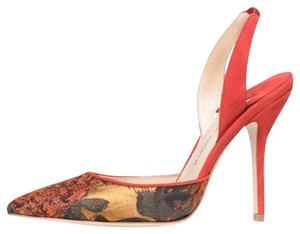 Paul Andrew Jacquard Passion Slingbacks Burnt Orange Pumps