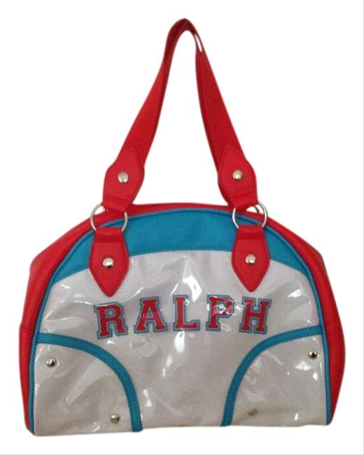 Item - Red White & Blue Faux Leather Canvas Silk Satchel