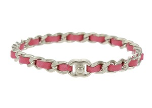 Chanel Pink Leather Woven Silver Chain CC Turnlock Bangle