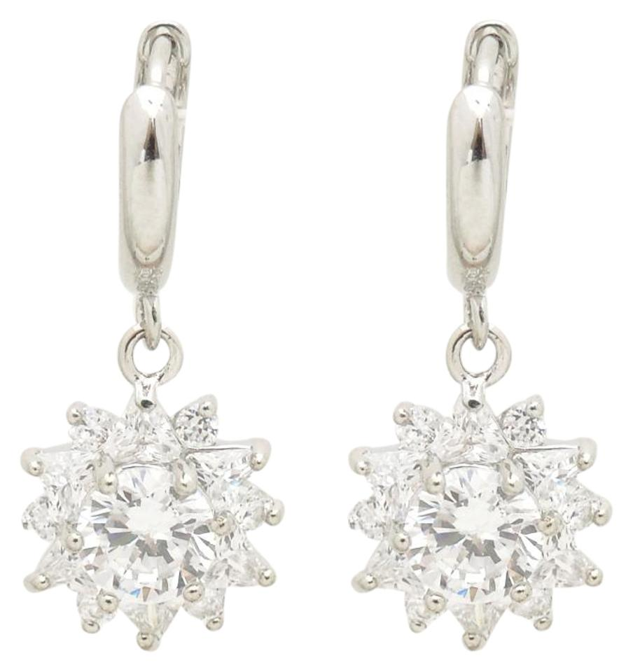 4ff15b478 Other Rhodium Silver Fashion Sunflower Cubic Zirconia Pendant Earrings  Image 0