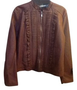 Outerwear by Lisa Ruffles Long Sleeve Comfortable Burgandy Leather Jacket