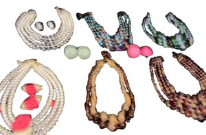 Multiples Vintage Necklaces and Earrings. From the 50s. Many Colors