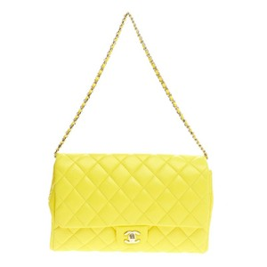 Chanel Leather Yellow Clutch
