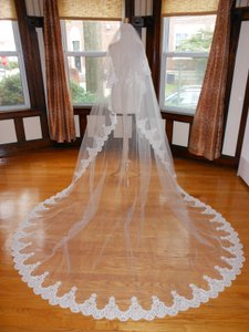 Off White Long Two Tier Cathedral with Lace Applique Edge T003 Bridal Veil