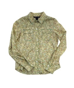 Marc Jacobs Green Floral Cotton Button Up Top