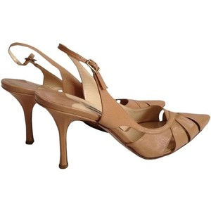 Jimmy Choo Cutout Slingback Camel Pumps