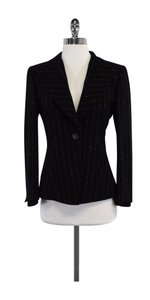 Escada Black Striped Wool Blazer