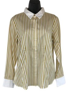 Van Heusen Button Down Shirt mustard, white