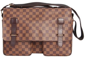 Louis Vuitton Damier Canvas Broadway Laptop Weekend Travel Brown Messenger Bag