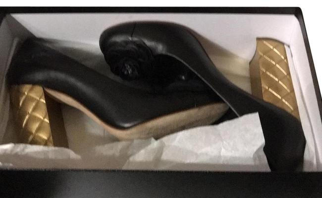 Item - Black and Gold 100 Camillia Chunky Golden Heels Leather In Very Condition. Platforms Size US 9 Regular (M, B)