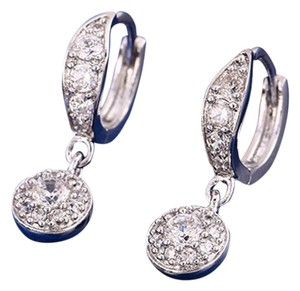 CZ Glimmer Pave Ornate Drop Rhodium Silver Earrings