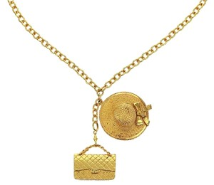 Chanel Vintage Gold Hat Classic 2.55 Flap Necklace